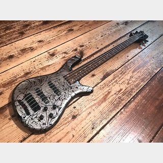 "Warwick Custom Shop Streamer LX 5st ""Storm Galaxy Silver on Black/WH LED Neck"""