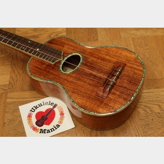 Maui Music Deluxe Curly Koa Custom Long Neck Concert w/ Ivoroid & Mango Binding + Shell Inlay #4134