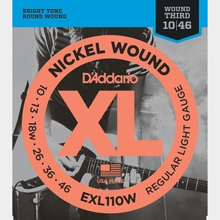 D'Addario EXL110W XL NICKEL Electric Guitar Strings Wound 3rd Regular Light 10-46 3弦ワウンド 【渋谷店】
