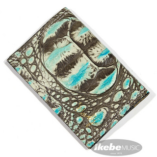 moody Faux Gator Leather Wallet [Turquoise/Cream]