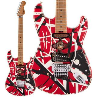 EVH Striped Series Frankenstein Frankie Red with Black Stripes Relic